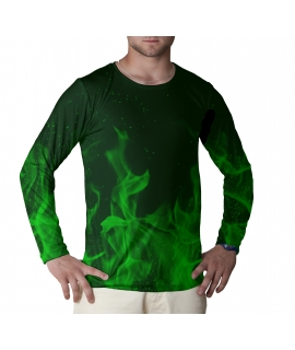 Green Flames long sleeve t-shirt