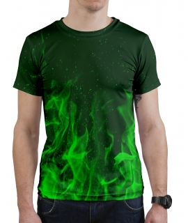 T-Shirt Green Flames