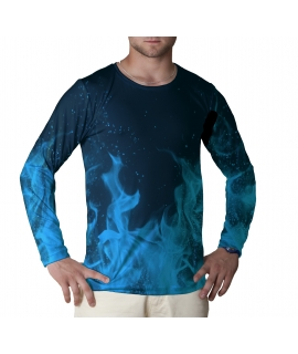 Blue Flames longsleeve t-shirt