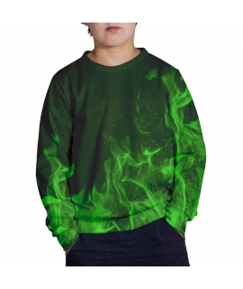 Green Flames Sweater for kids